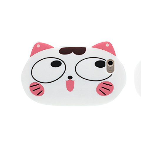 iPhone 7 Custodia, Prova di scossa anti-graffio [ 3D Cartoon gatto Nero ] TPU Soft Case iPhone 7 Custodia (4,7 pollici) (iPhone 7, Cat ) bianca