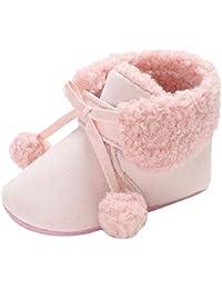 Zapatos Bebe Niña Bautizo, Zolimx Bebé Chica Niño Suave Botines Pelo Bola Vendaje Nieve Botas Niño Caliente Zapatos