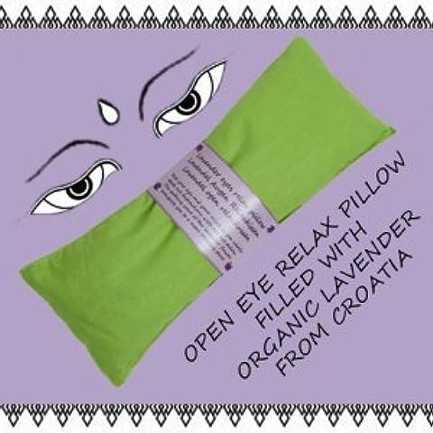 Lavanda bio semi di lino cuscino cuscino relax occhi occhio maschera Yoga versch. Colori, verde