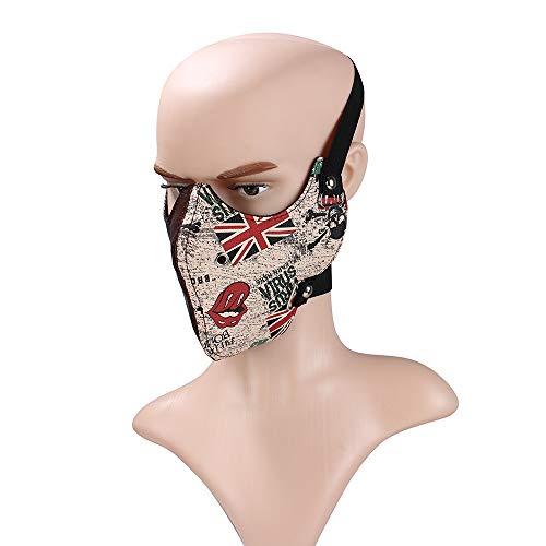 Sxbest Punk Halbe Gesichtsmaske, Steampunk Maske Für Biker Männer, Halbe Gesichtsmaske Wind Cool Punk Nieten