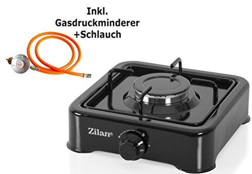 Gaskocher inklusiv Druckminderer und Schlauch | Campingkocher | Gas Kochfeld | Propangas | Kochfeld | Gasherd | AUSWAHL 1,2,3 oder 4 Flammig | Schwarz