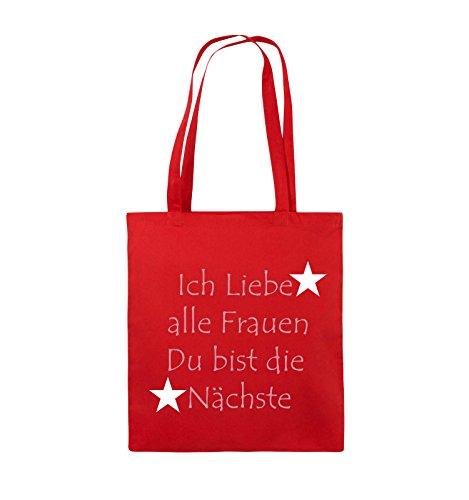 Comedy Bags - Ich liebe alle Frauen du bist die Nächste - Jutebeutel - lange Henkel - 38x42cm - Farbe: Schwarz / Weiss-Neongrün Rot / Rosa-Weiss