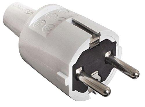 as - Schwabe PVC-Schutzkontakt-Stecker, doppelter Schutzkontakt, grau, 62220