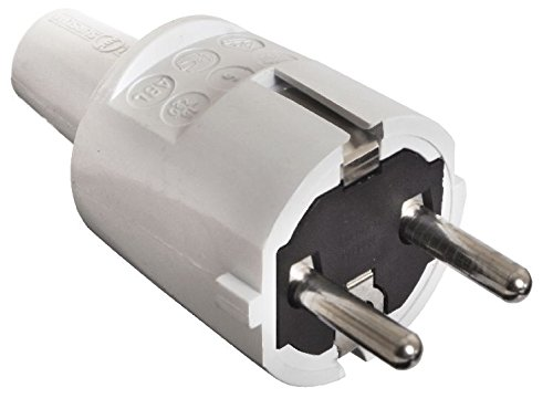 as - Schwabe 62220 PVC Stecker, grau, doppelter Schutzkontakt, 230 V -
