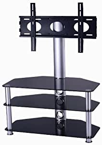 "Mountright Cantilever Glass TV Stand For Up To 50"" LED, LCD & Plasma Screen - Silver upright and legs"