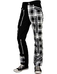 Tartan Street Style Zip Hose Schwarz Weiss