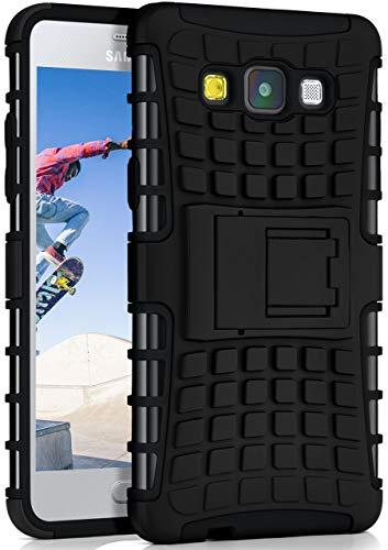 ONEFLOW Samsung Galaxy A5 (2015)   Hülle Silikon Hard-Case Schwarz Outdoor Back-Cover Extrem Stoßfest Schutzhülle Grip Handyhülle für Samsung Galaxy A5 2015 Case Rückseite Tasche