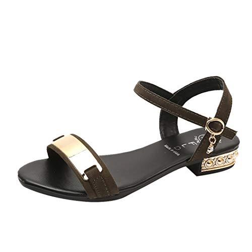 。◕‿◕。 Dégagement! LuckyGirls Sandales des Femmes de La Mode Open Toe Sangle Talon épais Gladiateur Chaussures 1-7 cm Sandales à Talons Plates Hauts Respirant Léger Sandales