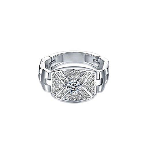 Anazoz placcato argento deligattoo donna anello fidanzamento per anniversario con zirconia cubica misura 22