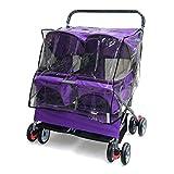 HAOCAI Zwei-sitzige Pet Kinderwagen mit Rad Faltbare tragbare Katze und Hund Universal Pet Halterung Outdoor Travel Pet Sportwagen (größe : Purple+Poncho)