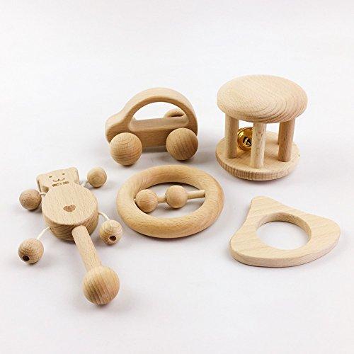 baby tete Spielzeug Intellektuelle von Kindern Montessori Spielzeug Set 5Pcs Pflege aus Holz Holz Rasseln Baby Spaß und interessante Spielzeug Kleinkind handgemachte Dusche Geschenk Motor Development Set