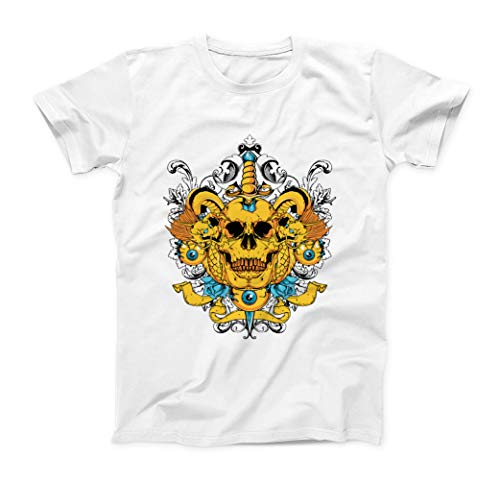 In Your Head Traditional Tattoo Style Illustration Herren T-Shirt - Weiß - X-Large (Dragon Youth Tshirt)
