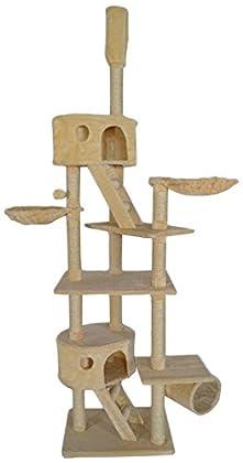 Dibea KB00401 Árbol Rascador Escalador para Gatos, 240-260 cm, Altura Ajustable del Techo Beige