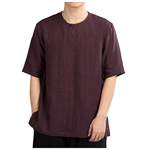 HHyyq Herren Kurzarm Sueded Jersey Herren Leinen und Baumwolle mit V-Ausschnitt Kurzarm T-Shirts Freizeit T-Shirt Slim Fit Henley T-Shirts (Wein, XL) Sueded-jersey-hose