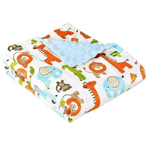 Weiche, 2-lagige fleece minky Babydecke zum Wickeln, Krabbeln, Kuscheln und Spielen, 75x120cm verschiedene Designs für Mädchen und Jungen | Blau/Safari - Kinderwagen Baby-affe-autositz Und