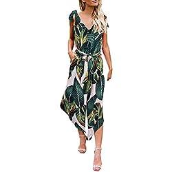 ShallGood Femmes sans Manches Combinaison Florale Jambe Large Combi-Pantalon D'été Pantalon Uni Loose Taille Haute Bodysuit Imprimé Floral Romper Sexy A Vert FR 44