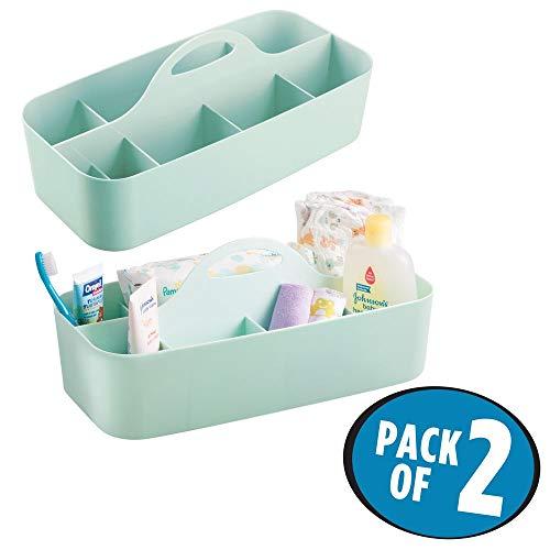 mDesign 2er-Set Caddy mit 11 Fächern für Babysachen - Aufbewahrungsbehälter mit Griff aus Kunststoff - praktischer Tragekorb für Creme, Thermometer, Spielsachen, Babynahrung usw. - mintgrün -