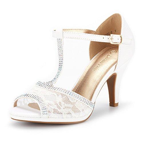 DREAM PAIRS Amore_2 Damen Sandalen mit Mode Stilettos Offene Zehen Ferse Weiß 38 EU