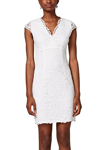 ESPRIT Collection Damen Partykleid 028EO1E030, Weiß (Off White 110), 38