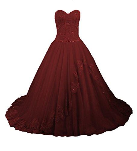 O.D.W Damen Appliques Spitze Lange Vintage Hochzeitskleider Farbig Gotisch Brautkleider (Burgund,...