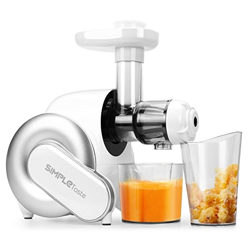 SimpleTaste Masticating Juicer, Slow Extractor BPA Free with Quiet Motor & Cleaning Brush for High Nutrient Fruit and Vegetable Juice, White, 34.5cm*25cm*26.8cm