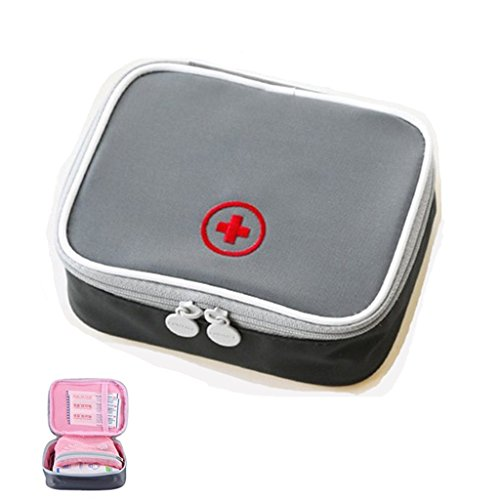 Cassetta di pronto soccorso vuoto scatola di pronto soccorso impermeabile di piccole dimensioni facile da trasportare per il luogo di lavoro domestico di viaggio grigio