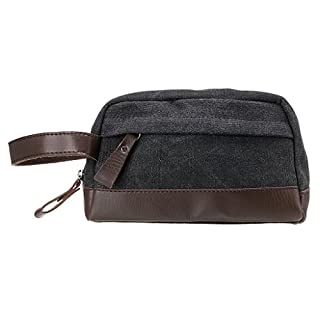 IGNPION Toiletry Bag Unisex Vintage PU Canvas Compact Travel Make up Cosmetic Wash Bag Shaving Dopp Kit with Handle (Black)