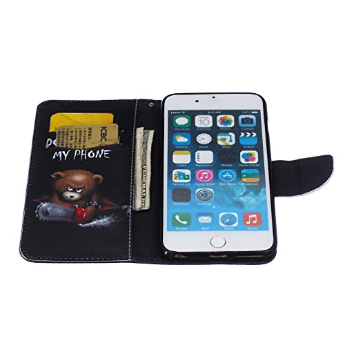 KATUMO® Apple iPhone 6S Plus schutztasche Premium PU Leder Case mit Kartenfächern und Standfunktion HanyHülle für iPhone 6/6S Plus Case Cover Schwarz Campanula Teddybär