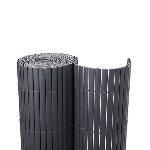 SONGMICS PVC Sichtschutzmatte Grau (80 x 300 cm) Sichtschutz für Garten Balkon und Terrasse GPF083GV1