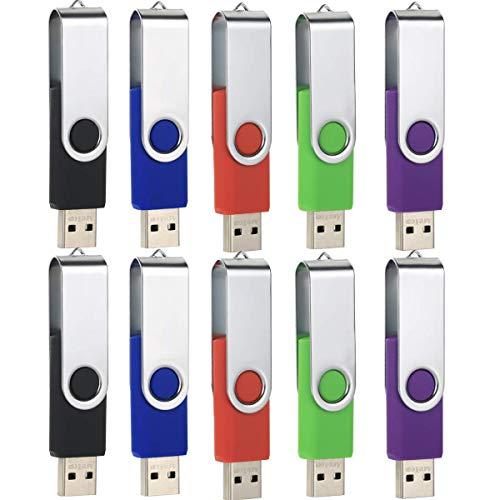 1 Go Lot de 10 Clés USB 2.0 Pivotant...