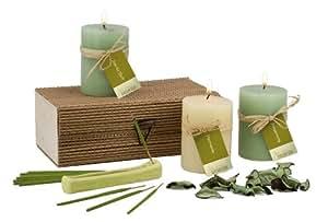 """Aroma Wellness Set """"Life in Harmony"""" - 3 Duftkerzen, 12 Räucherstäbchen, Keramik-Halter, 10 g Potpourri"""