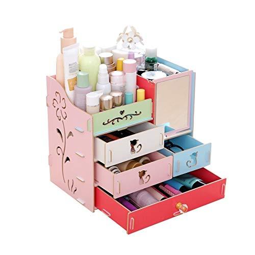 ZHAOLV Schmuckkästchen Make-up Kosmetische Aufbewahrungsbox Desktop Aufbewahrungsbox Montage Holz Große Kapazität DIY Schmuck Container Organizer mit Spiegel Multi (Color : Multicolor) -
