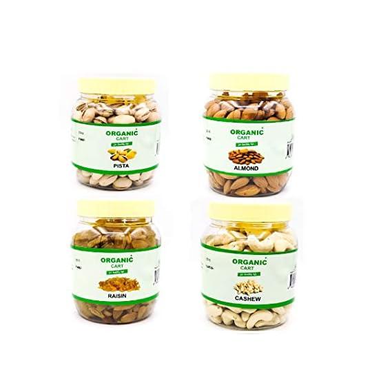 Organic Cart Natural Dry Fruit Combo Mix Cashew Almond Pistachios Roasted/Salted Raisin
