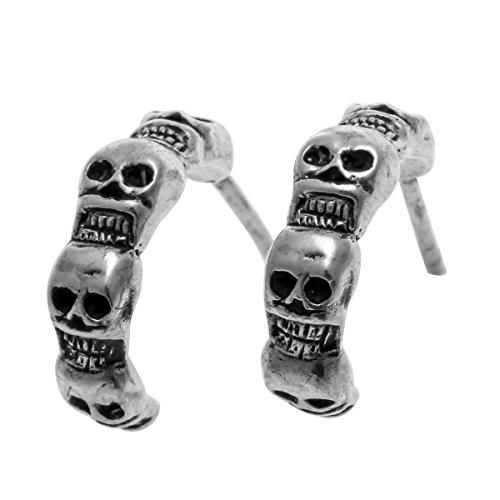 loveangel Schmuck 925Sterling Silber Totenkopf Skelett Kostüm Ohrstecker Ohrring Geschenk für Frauen
