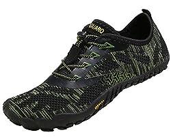 SAGUARO Barfussschuhe Herren Damen Traillaufschuhe Leicht Training Fitnessschuhe Wander Wald Strand Straßenlaufschuhe Outdoor & Indoor Sports Schuhe für Frauen Männer, Grün, 45 EU