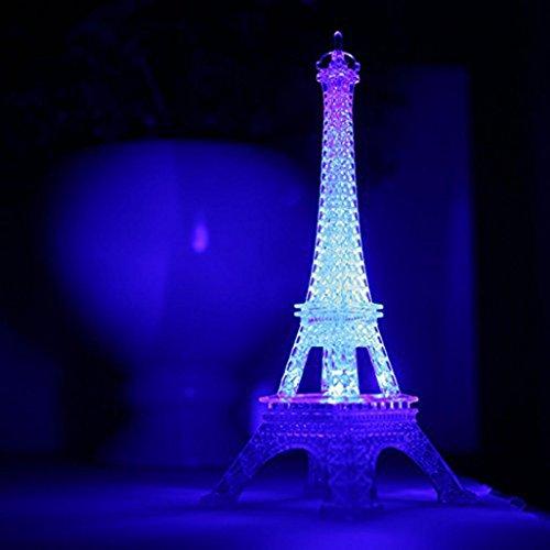 Covermason Nachtlicht, Eiffelturm LED Nachtlicht Romantische Lampe Schreibtisch Tabelle Zuhause Schlafzimmer Schmücken Geschenk (Weiß)