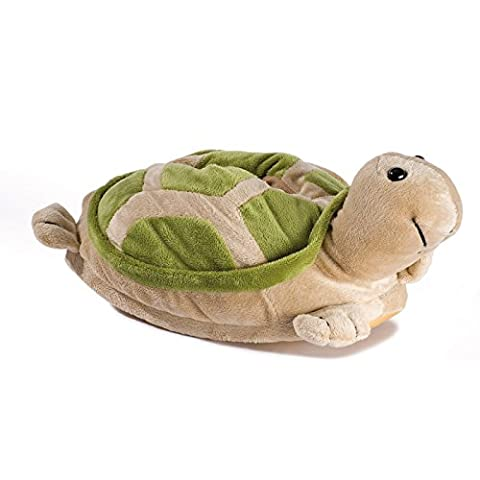 Plush Slippers Novelty Animal turtle for children and adults tested and certified for harmful substances** with rubber sole, Green,