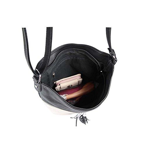 OBC DAMEN TASCHE Schultertasche CrossOver Umhängetasche Henkeltasche Damentasche Cross Body City Bag Silber-Rose Beige-Navy