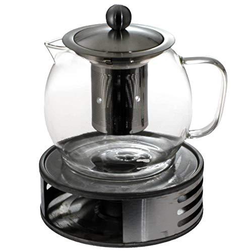 SIDCO Teekanne mit Stövchen Glaskanne + Teesieb Teewärmer Teebereiter Glas Edelstahl