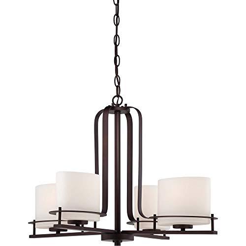 CHTG Loren One Light Mini-An;nger 100 Watt A19 max. Geätzte Opalglas venezianische Bronze Fixture (Venetian Bronze, 4Lt Chandelier) -