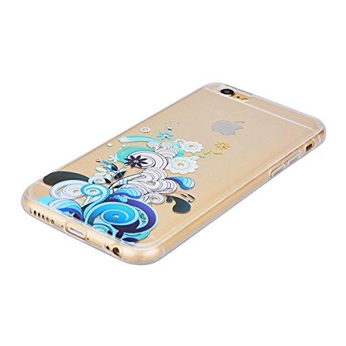 GrandEver iPhone 6S Hülle, iPhone 6 Weiche Silikon Bumper und Hardcase Strass Diamant Hart Backcover Transparent Glitzer Handyhülle mit Blumen Muster Schlank HandyTasche Flexible Bling Schutzhülle Zur Blau Blumen