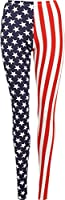 Ladies Stars And Stripes Leggings Womens Full Length USA - Blue - 8/10