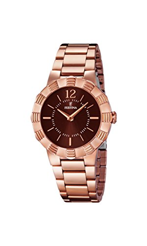 Festina Women's Quartz Watch with Brown Dial Analogue Display and Rose Gold Stainless Steel Plated Bracelet F16733/2