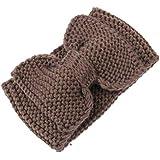 Women Lady Crochet Bow Knot Knit Knitted Headband Headwrap Winter Hair Band Ear Warmer (Khaki)