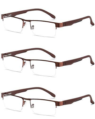 VEVESMUNDO Lesebrillen Herren Damen Klassische Metall Halbrandbrille Lesehilfe Federschaniere Klar Brille Augenoptik Vintage Sehhilfe Arbeitsplatzbrille Sehstärke (3 Stück Lesebrillen in Kaffee, 4.0) -