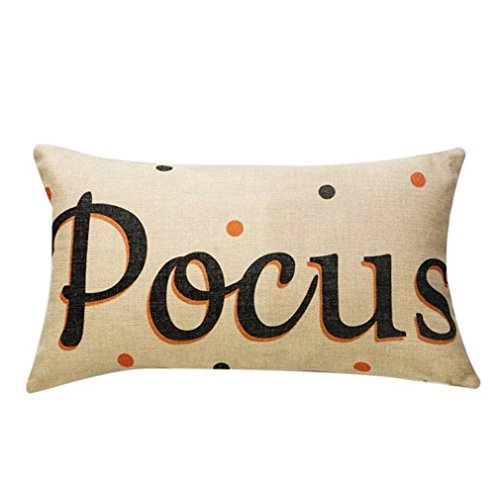 Federe cuscini,fittingran liquidazione halloween federe per cuscini divano in lino zucche fantasmi cuscino decorazioni per la casa (beige)