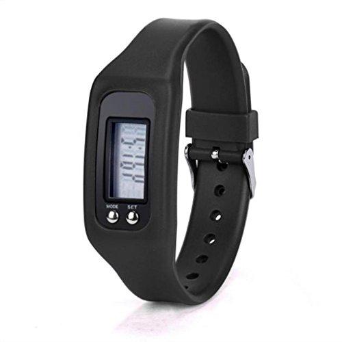 LCLrute Top Qualität Digital LCD Schrittzähler Run Schritt Walking Distance Kalorienzähler Uhr Armband (Schwarz)