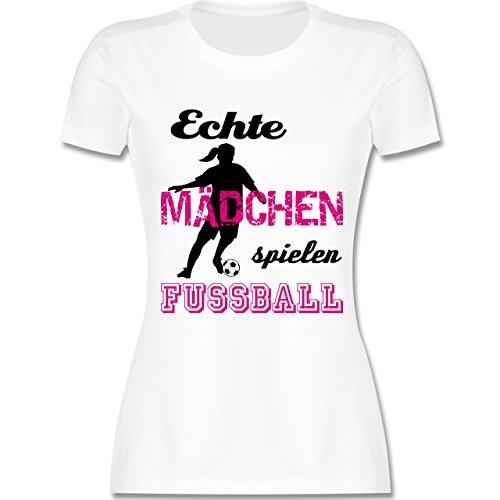 Shirtracer Fußball - Echte Mädchen Spielen Fußball - Schwarz - Damen T-Shirt Rundhals Weiß
