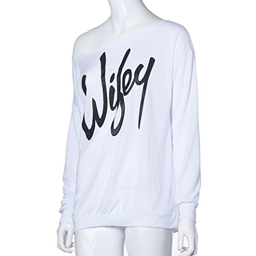 Blouse, Tonsee Femmes Lettre Imprimer Sweat ample Casual Top Pull Blanc