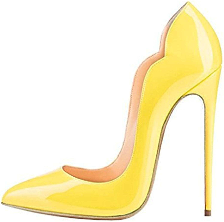 LYY.YY Scarpe Da Donna Con Tacco Alto Da Donna Con Vernice Sfumata Bocca Superficiale Coloreee Cuciture (Altezza... | 2019 Nuovo  | Uomo/Donna Scarpa